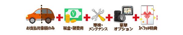 お支払対象額のみ・税金・諸費用・車検・メンテナンス・豪華オプション・スペシャル特典